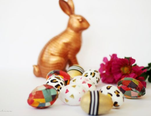 Bright and colorful mod podge easter eggs - copper bunny and patterned Easter eggs - This is our Bliss