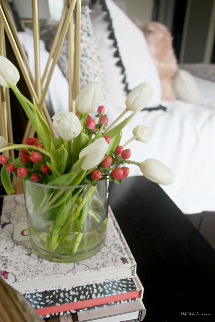How to do a Mini Spring Refresh in the Bedroom - Fresh tulips on the nightstand - Spring nightstand styling tips - This is our Bliss
