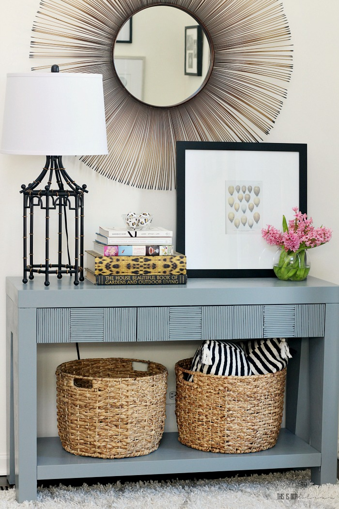 A Touch of Spring in the Entryway | How to style a simple entryway table for Spring - gray entry table with simple Spring touches -This is our Bliss