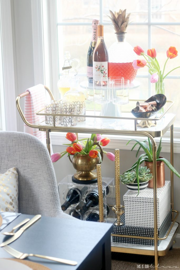 11 ways to freshen up your home for Spring - add a dishtowel to your kitchen oven or bar cart handle - This is our Bliss