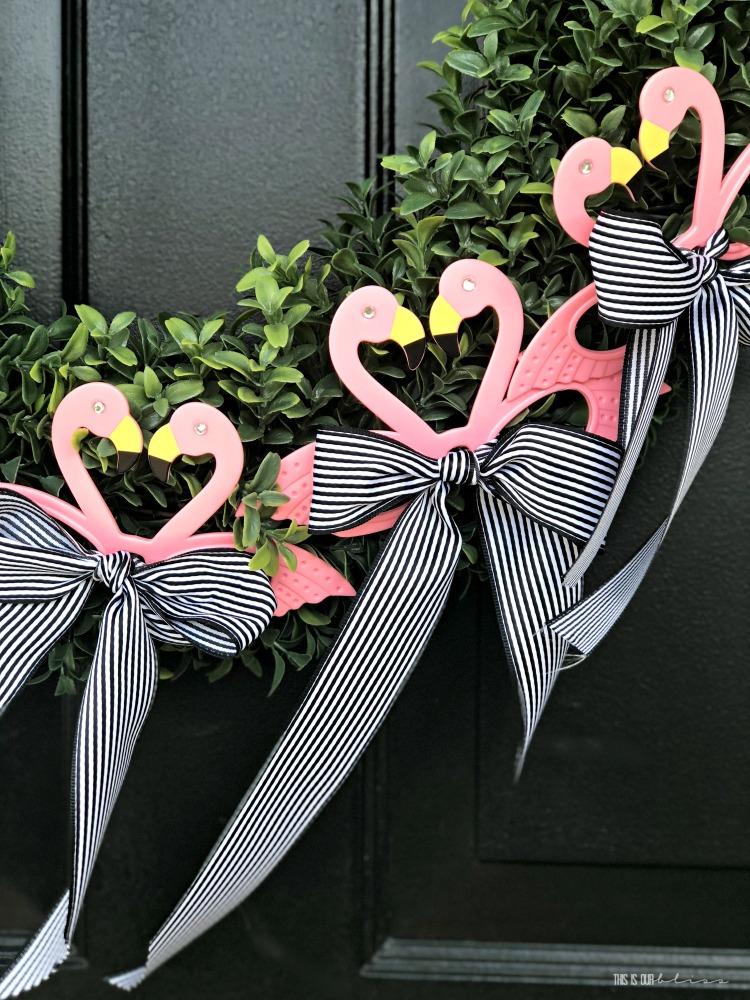 Flamingo Wreath For Door Flamingo Welcome Wreath Pool Wreath Grapevine Wreath Summer Welcome Wreath Outside Wreath Flamingo Decor