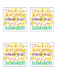 Free Printable Teacher Gift Tags Thanks For A Poppin School Year This Is Our Bliss This Is Our Bliss