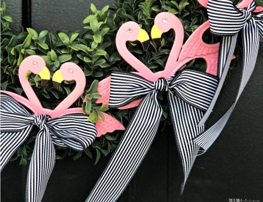 super simple Pink flamingo wreath for Summer - the perfect simple summer wreath for your Front Door - This is our Bliss