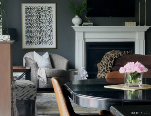 Featured Summer Home Tour 2019 - dark wall with light accents and fresh pink flowers - This is our Bliss