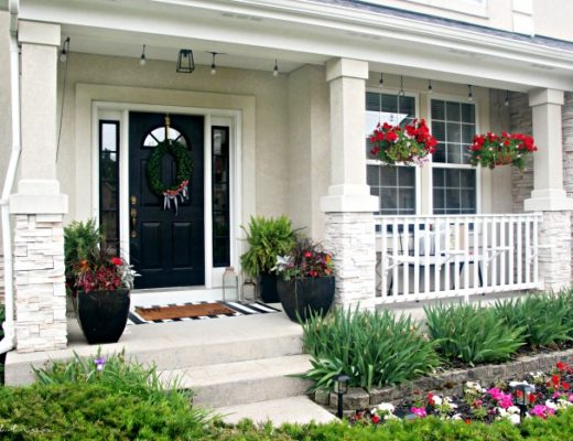 Small Front Porch decorating ideas with hanging baskets and lights - This is our Bliss