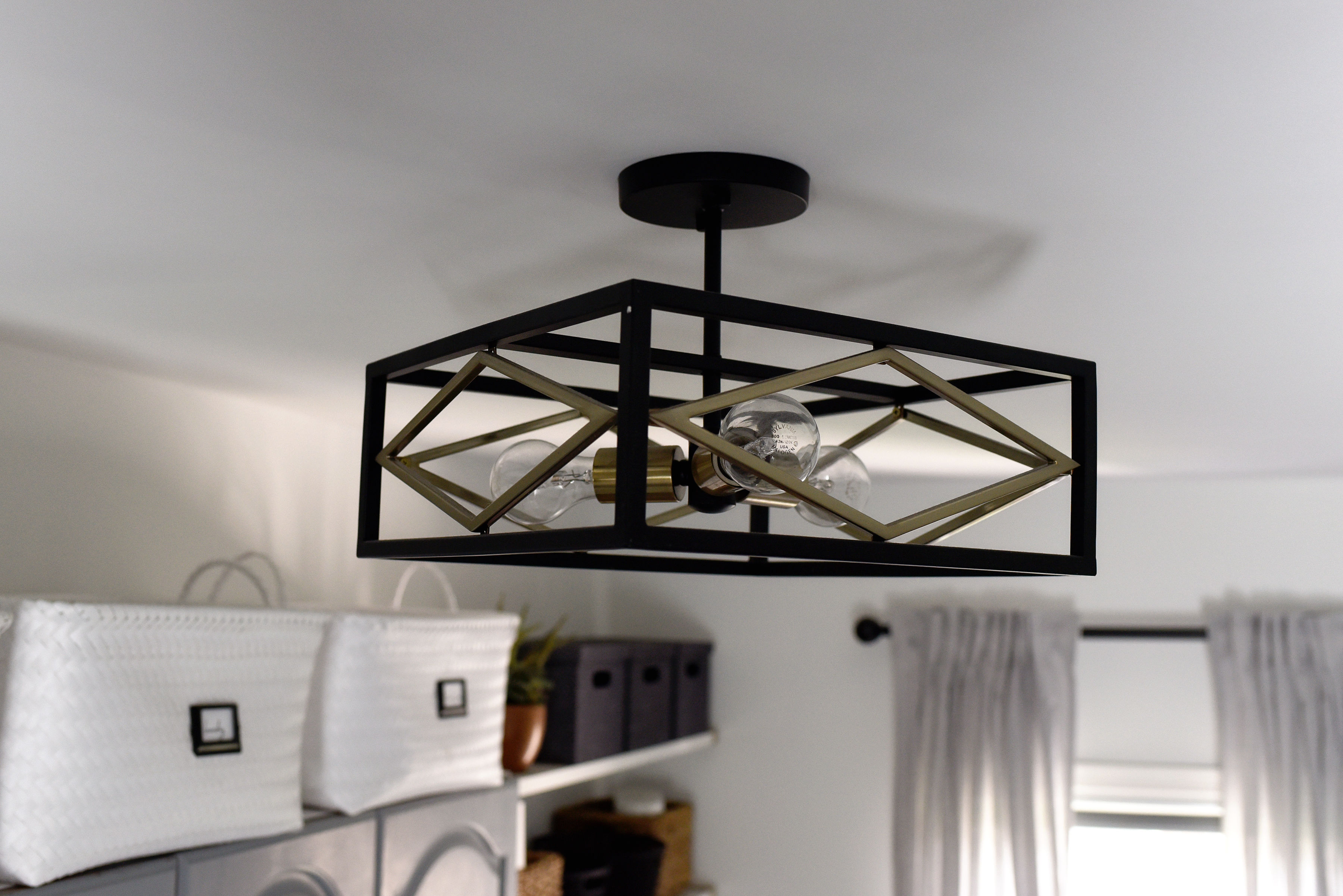 Black And Brass Semi Flushmount Light For The Laundry Room This Is Our Bliss This Is Our Bliss