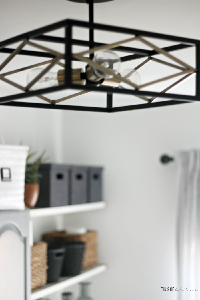 An Organized And Chic Small Laundry Room Update Black And Gold Semi Flush Mount Light In Laundry Room This Is Our Bliss This Is Our Bliss