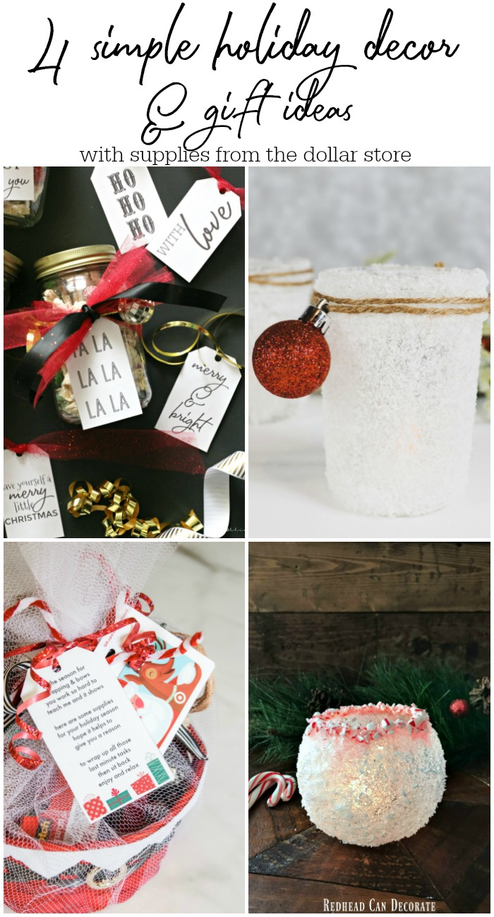 4 simple holiday decor and gift ideas with supplies from the Dollar store - My Dollar Store DIY