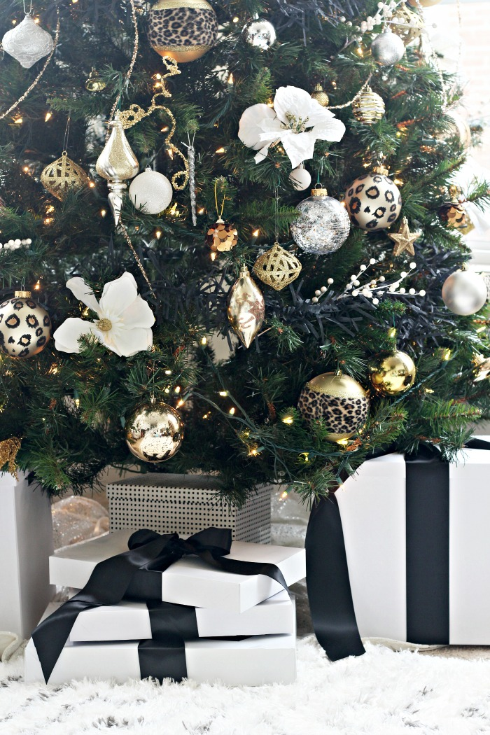Neutral Christmas Tree With Black White Gold And Silver Decorations Leopard Ornaments And Black And White Wrapped Gifts This Is Our Bliss This Is Our Bliss
