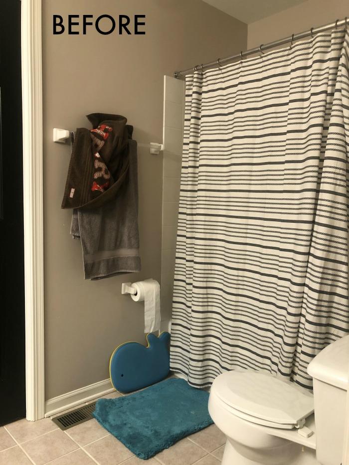Boys Bathroom Before Photo Shower, Boy Bathroom Shower Curtains
