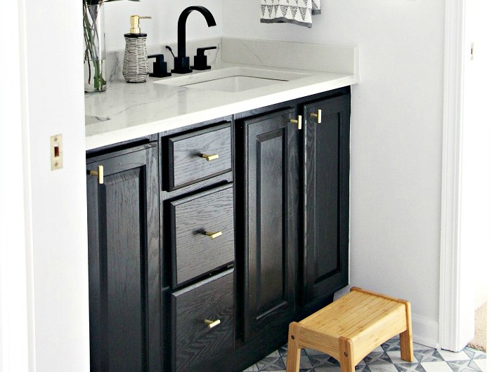 Achieve A High End Vanity Look W Paint Hardware This Is Our Bliss