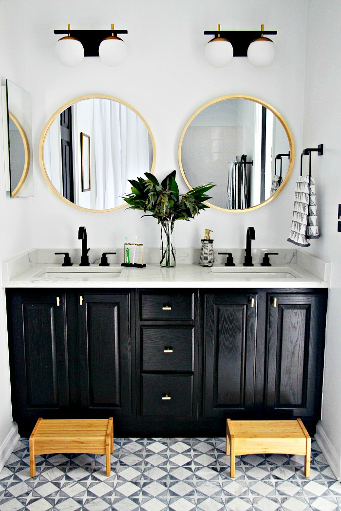 Neutral Modern Shared Boys Bathroom