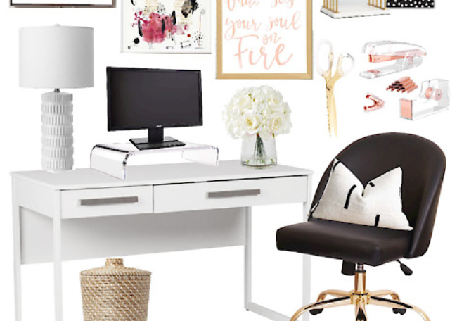 Home Office Update Edgy Glam Desk Nook Mood Board This Is Our Bliss