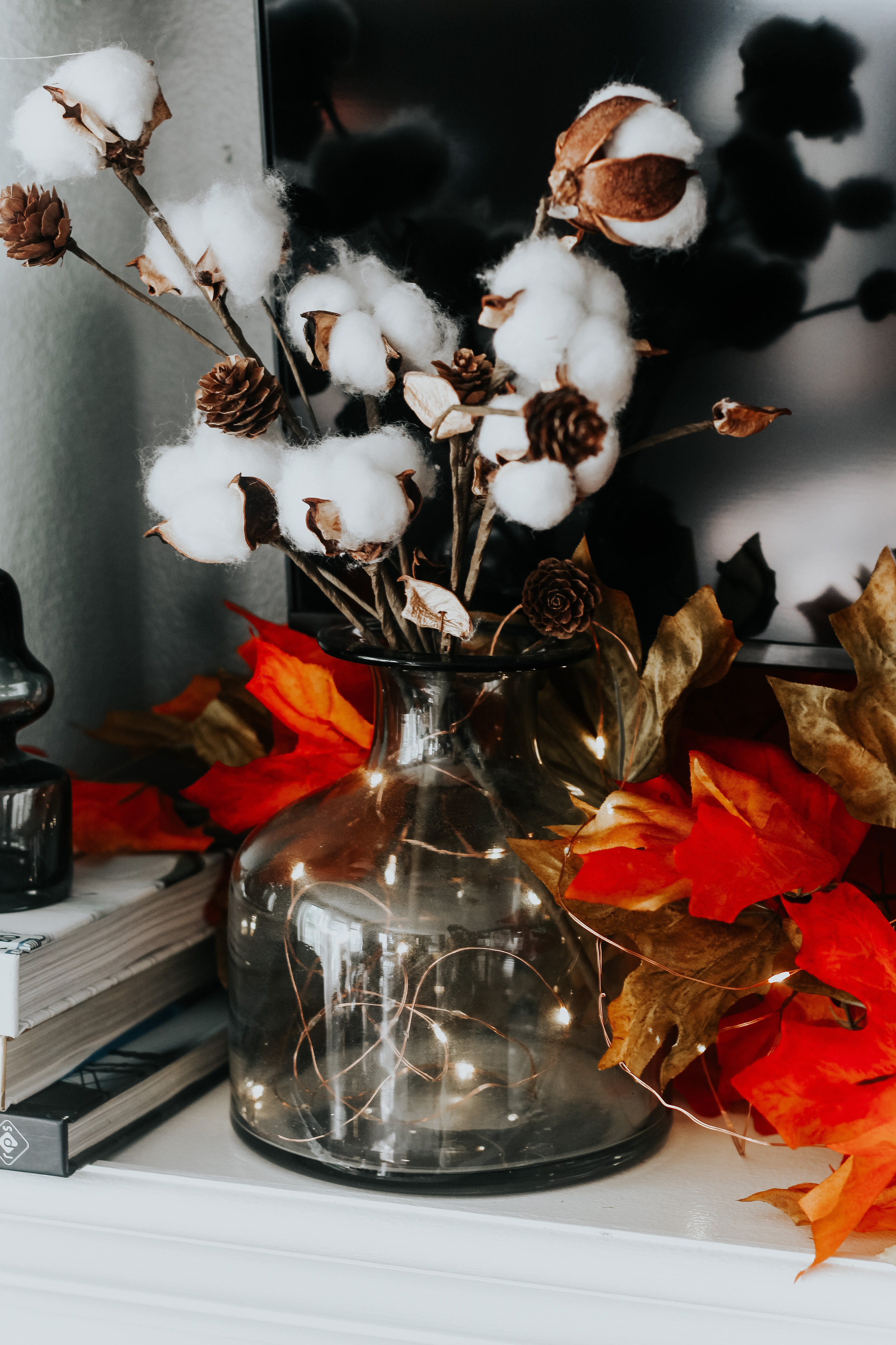 Twinkle Fairy Lights On Copper Wire For Fall Vase With Cotton Stems Fall Mantel Decor This Is Our Bliss This Is Our Bliss
